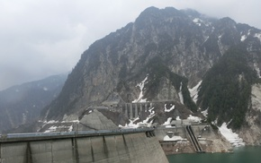 landscape, snow, dam, mountains, forest, Kurobe Dam