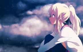 sitting, long hair, school uniform, anime, original characters, eyes