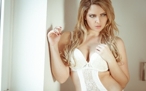 blonde, body lingerie, sideboob, curvy, face, red nails