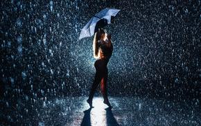 umbrella, curvy, ass, rain, girl