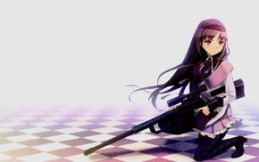 long hair, weapon, gun, anime girls, Mahou Shoujo Madoka Magica, Akemi Homura