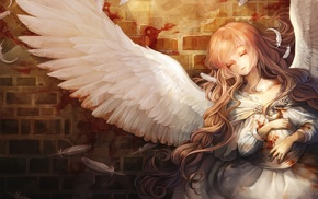 demon, angel, long hair, anime, angel wings, anime girls