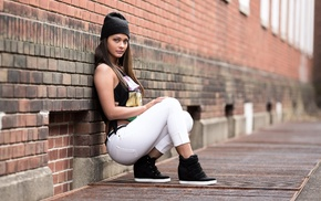 looking at viewer, girl, portrait, wall, sneakers, pants