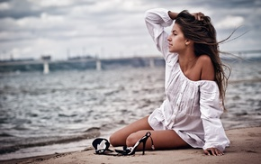 depth of field, bridge, sea, bare shoulders, sitting, beach