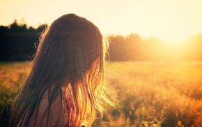 long hair, model, sunlight, redhead, girl outdoors, girl