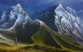 valley, landscape, clouds, digital art, snowy peak, mountains