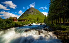 mountains, house, long exposure, water, rock, Norway