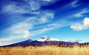 snowy peak, clouds, mountains, field, nature, grain