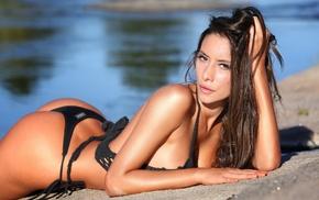 ass, Beln Etchart, river, black bikinis, girl, sensual gaze