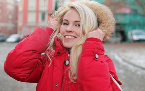 looking at viewer, street, blonde, jacket, face, norwegian