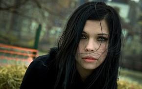 green eyes, girl, black hair, hair in face, looking at viewer