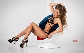 high heels, hands on head, girl, blonde, model, simple background