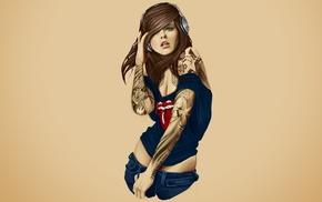 girl, Rolling Stones, tattoo, headphones