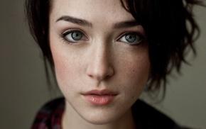 closeup, short hair, blue eyes, freckles, face, girl