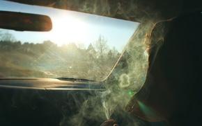 smoking, sunlight, smoke, car, car interior
