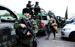 M4, soldier, Mexican police, army, Mexican soldier, military