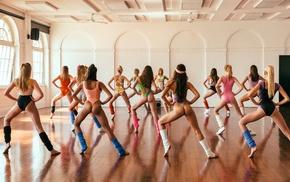dancing, leotard, group of girl, rear view, girl, ass