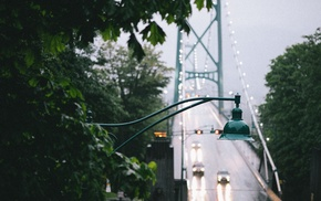 city, closeup, landscape, trees, Vancouver, bridge