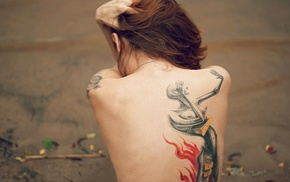 hands in hair, back, girl, brunette, no bra, tattoo