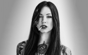 girl, looking at viewer, smoking, tattoo, monochrome, face
