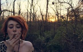 smoking, animal print, girl, redhead, drugs, girl outdoors