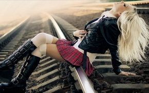 railway, long hair, blonde, girl, miniskirt, closed eyes