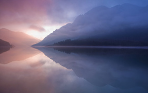 mountains, reflection, river, mist, landscape, water