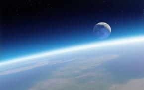 space, stars, Moon, Earth