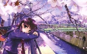 bicycle, anime, cherry blossom, anime girls, river, school uniform
