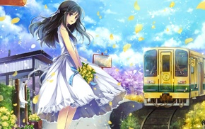 dress, train, anime girls, anime, flower petals, original characters