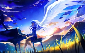 anime, Tachibana Kanade, wings, anime girls, Angel Beats