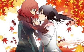 Yazawa Nico, fall, Love Live, anime girls, Nishikino Maki, leaves