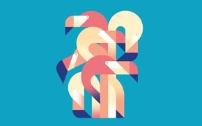 minimalism, flamingos, vector