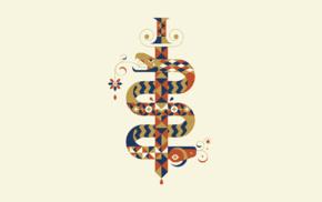 snake, vector, sword, minimalism