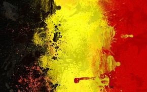 painting, flag, Belgium, yellow, black, red