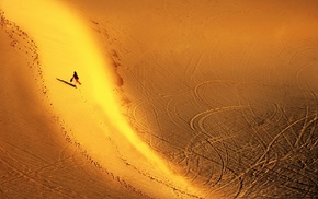 shadow, footprints, desert, landscape, tire tracks, aerial view