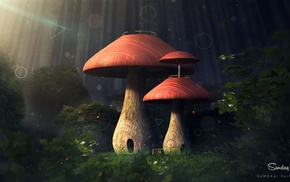 nature, leaves, mushroom, digital art, fantasy art, trees