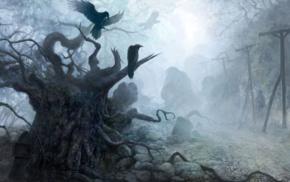 dark, trees, birds, animals, stones, creepy