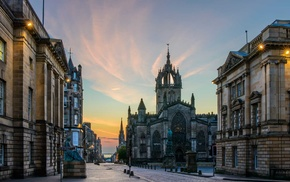 UK, Scotland, building, street light, cathedral, ancient