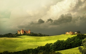 grass, Italy, ancient, clouds, castle, Tuscany
