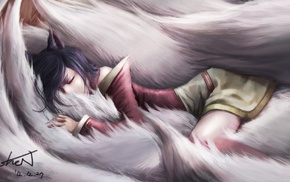 League of Legends, anime, sleeping, Ahri, video games, anime girls