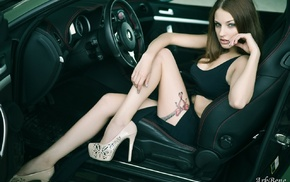 model, high heels, tattoo, girl, girl with cars, Alla Berger