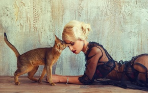 girl, blonde, cat, model