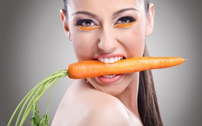 model, carrots, girl, face