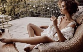 sitting, cigarettes, girl, Caucasian, smoking, white lingerie
