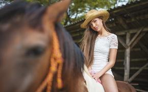 hat, horse, model, girl