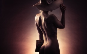dark, girl, rear view, millinery, nude, hat