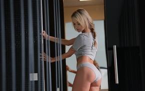 underwear, girl, blonde, tattoo, ass