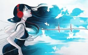 anime girls, anime, headphones