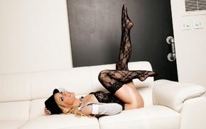 model, couch, lingerie, stockings, Jessi Marie, girl